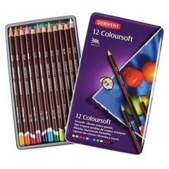 DERWENT COLOURSOFT LAPICES DE COLORES SUAVES - 12 COLORES