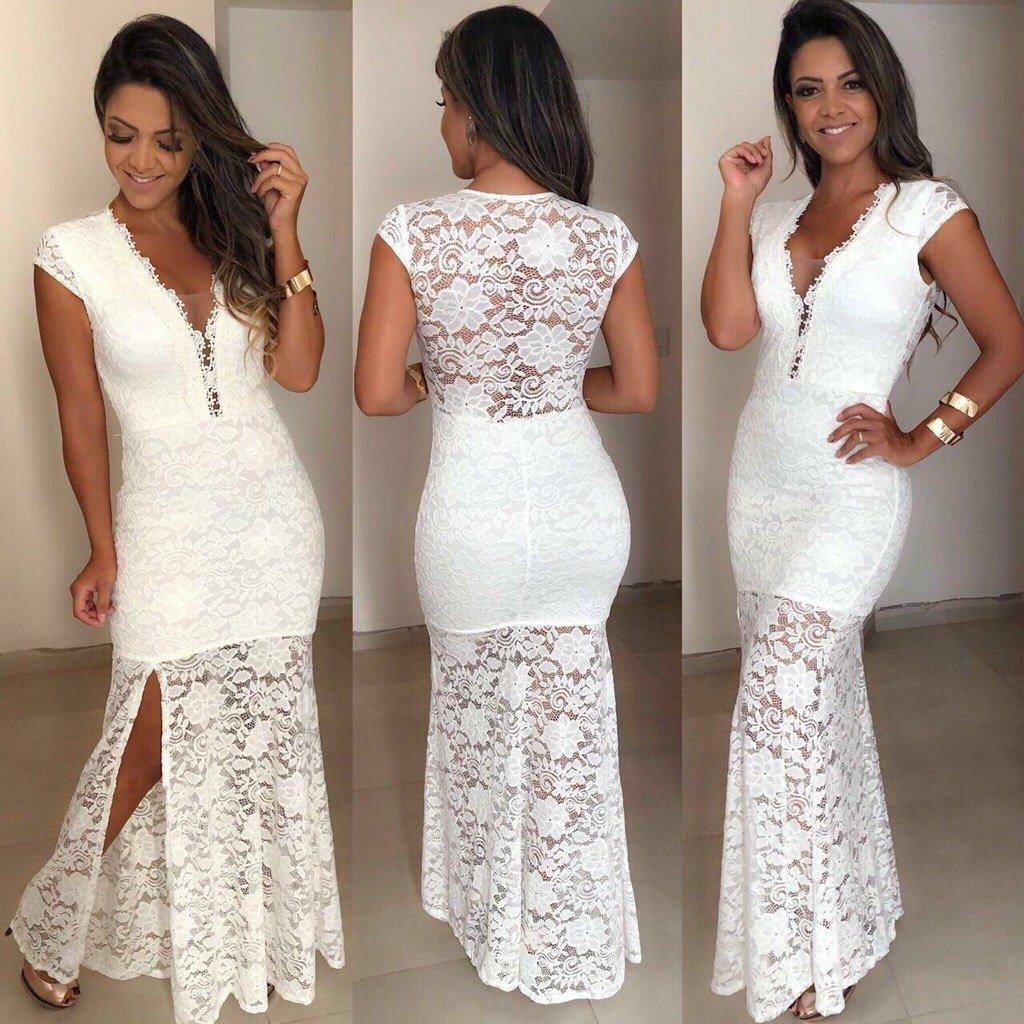 97a48706c9 Vestido Branco Longo Renda - Comprar em Madame Luxo