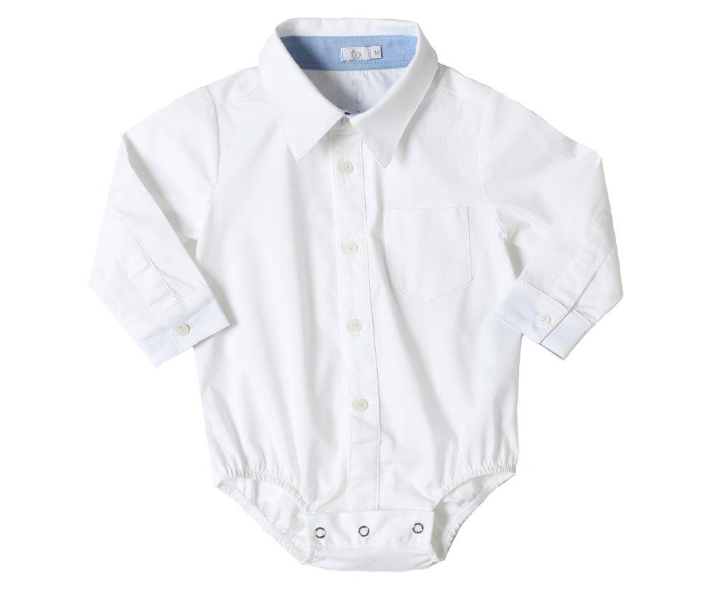 0272e6f7dc470 Body Camisa Social Branco Manga Longa - Toca do Coelho