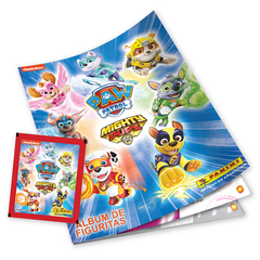 Pack PROMO 1 álbum + 20 sobres PAW PATROL MIGHTY PUPS