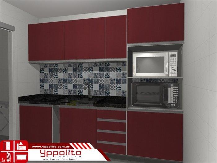 Cocina de melamina con tirantes de perfiles de aluminio. Cod. AM103