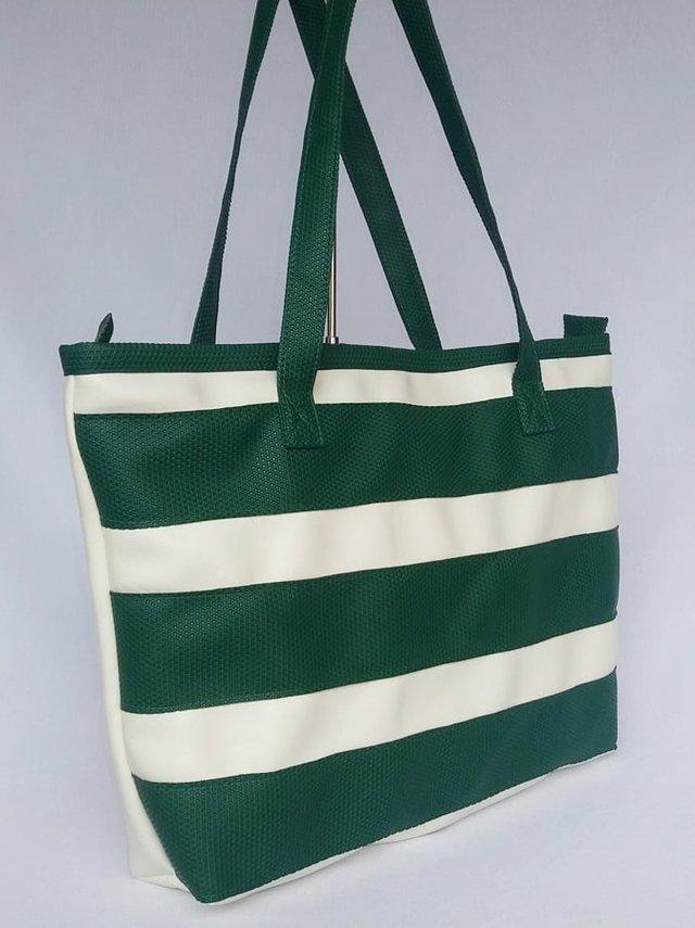 bolsa listrada verde