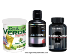 Combo Emagrecimento - Chá Verde Premium + L- Carnitina + Thermo Flame