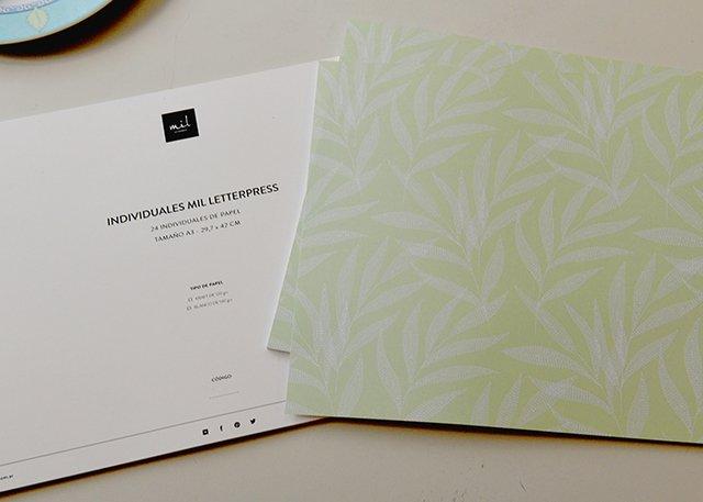 Individuales de Papel Trama Verde - Mil Letterpress