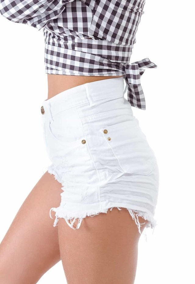SHORTS DESTROYED DEGRANT BRANCO HOT PANTS