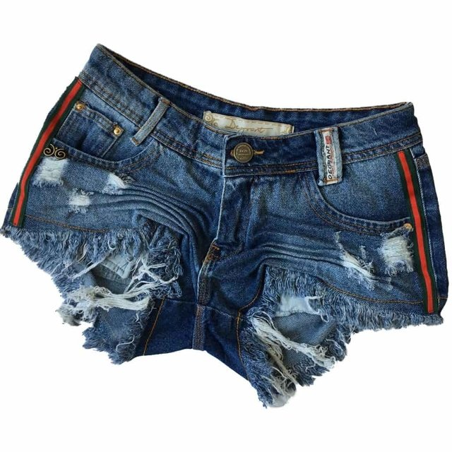 SHORT JEANS DEGRANT DESTROYED FITA DUOCOLOR LATERAL