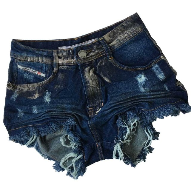 SHORTS DESTROYED HOT PANTS JEANS METALIC