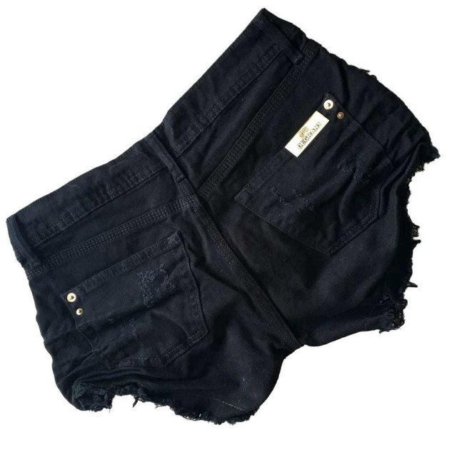 Shorts Jeans Destroyed Preto DEGRANT