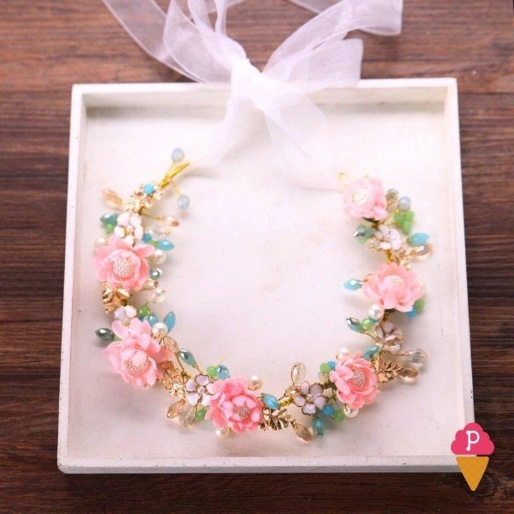 Coroa Flores Rosas Noiva  3f9793cb3f0