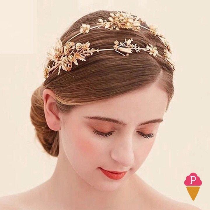 Tiara De Flores Douradas Para Penteado
