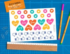 Cartela 36 Stickers Loves e Likes - comprar online