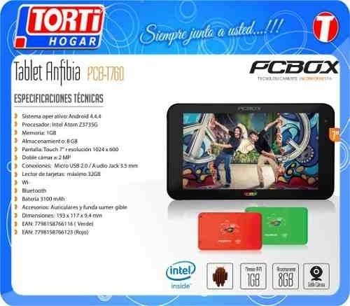 Tablet 7 Pcbox Anfibia Pcb-t760 Roja en internet