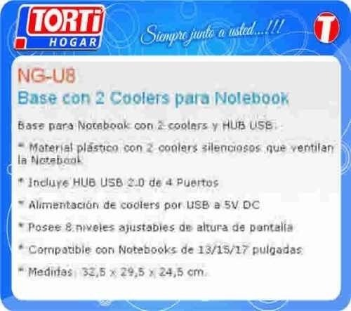 Base Para Notebook Noganet Ng-u8 2 Coolers Miramar Bs As - tienda online