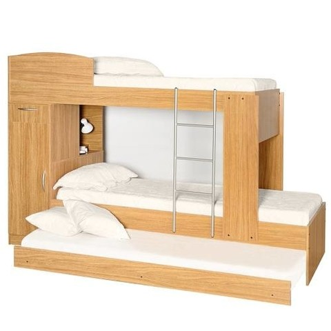 Cama Cucheta Triple 1 Plaza Platinum 954 Roble