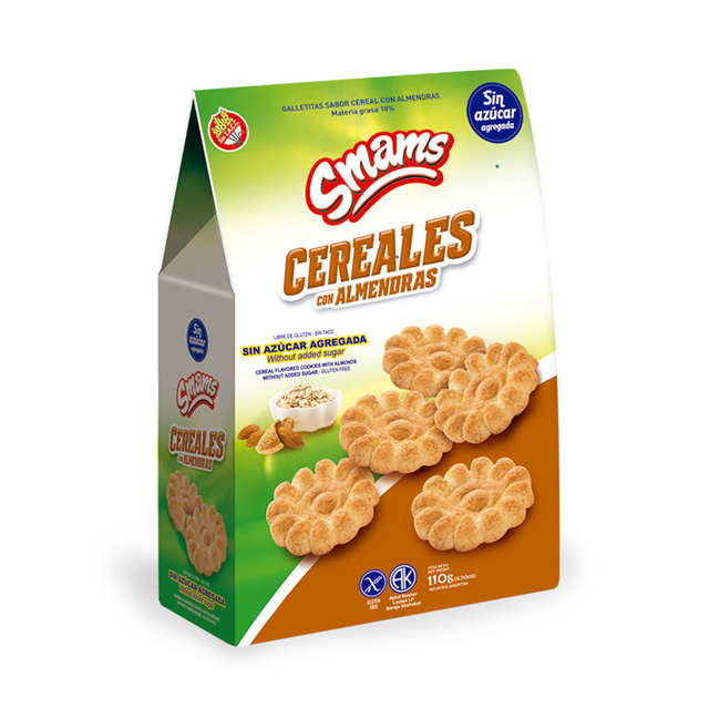 Galletitas Cereal y Almendras sin Azucar SMAMS x 110 Gs