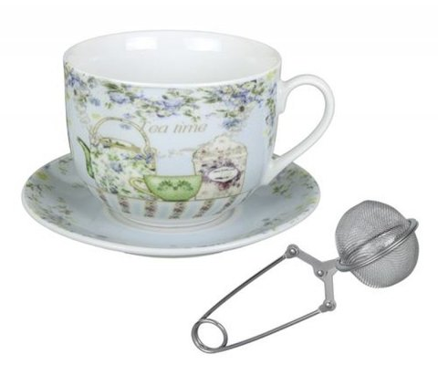 TAZON CON PLATO TEA TIME COM INFUSOR