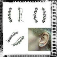 Brinco Ear Cuff Flores - Prata 925 - The Mermaid Store