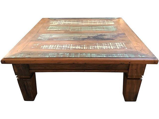 Mesa de centro r stica em madeira de demoli o - Baul mesa de centro ...