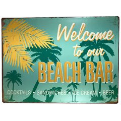 placa-metal-welcome-to-the-beach-decorativa-presente