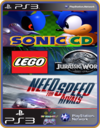 PS3 PACOTE IW 7 MÍDIA DIGITAL Sonic Lego Jurassic Need For Speed Rivals