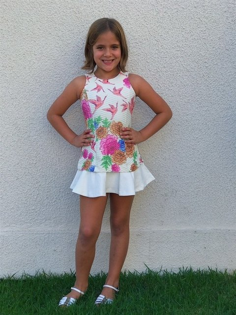 Vestido Floral Off White Infantil on internet