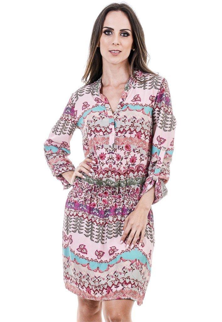 797c52516ddd Vestido chemise estampado - rosa