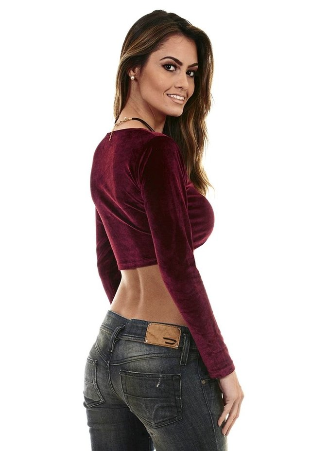 Top cropped veludo burgundy