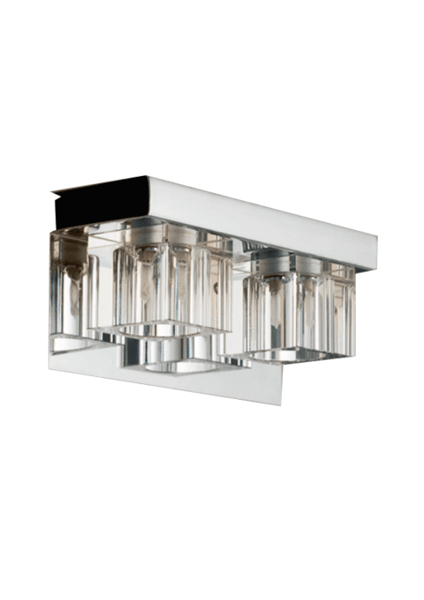 Aplique Delco cristal 2 luces Apto LED