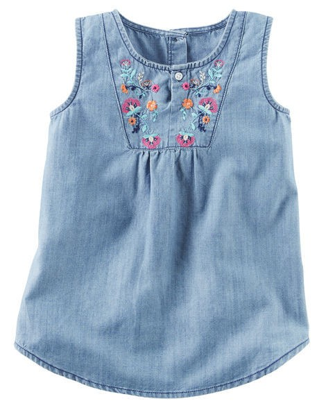 CARTERS- Túnica Denin bordada Chambray