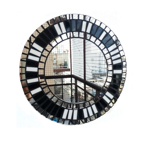 Espejo Circular con Marco Decorado Violeta 32 cm