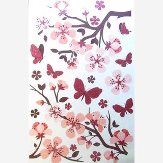 Vinilo Decorativo Para Pared Rama Con Flores Y Mariposas