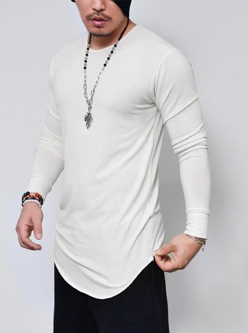 b5a5199ae Camisa longline manga longa masculina alongada branca na internet