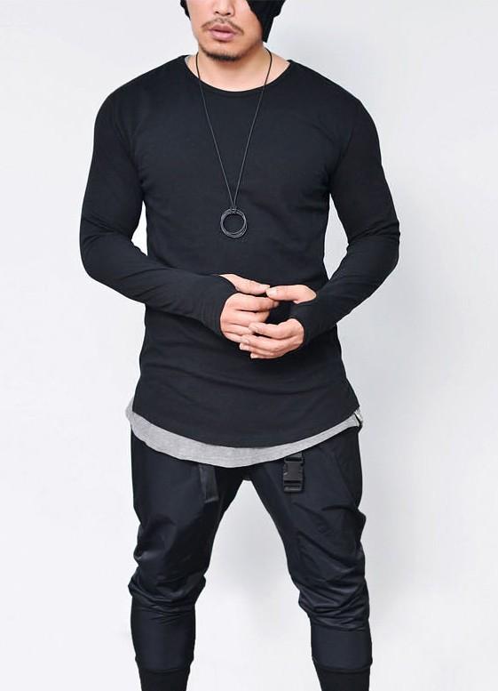 ec1e6296d9 Camisa longline manga longa masculina alongada preta com punho