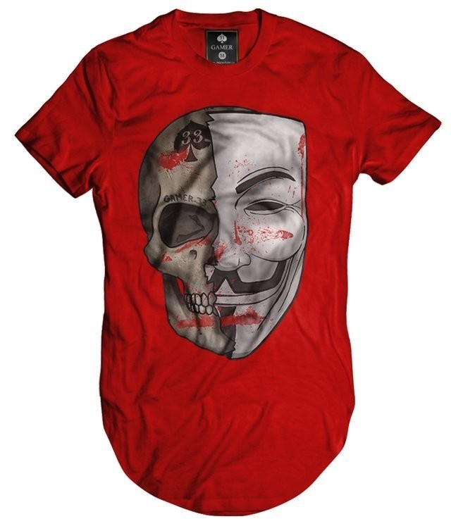 Camiseta Longline Oversized Vendetta Vingança Mascara Morte Gamer 33 top na internet