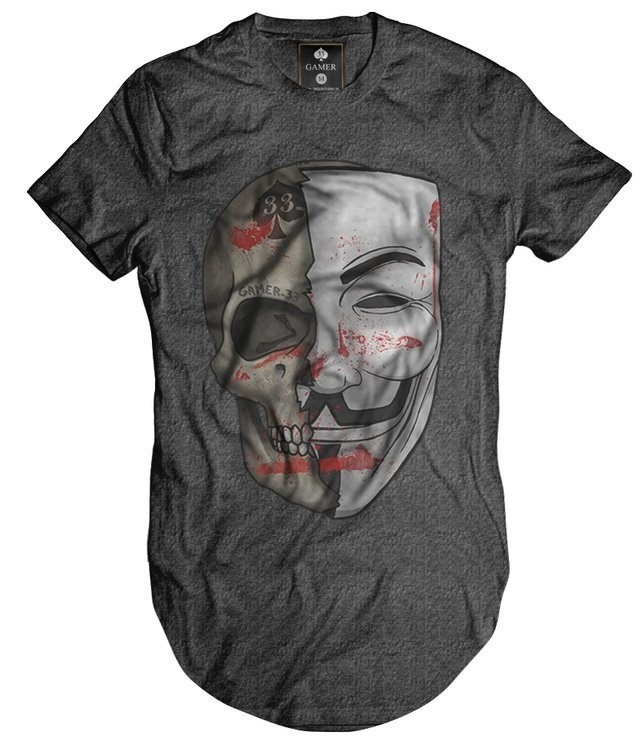 Camiseta Longline Oversized Vendetta Vingança Mascara Morte Gamer 33 top
