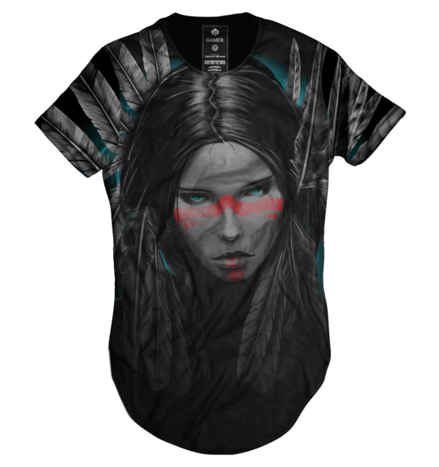 Camiseta long line oversized india wild spirit Gamer 33 LOJA HDR