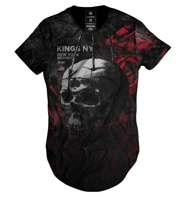 Camiseta long line oversized Caveira Rei Rosas kings collection Gamer 33