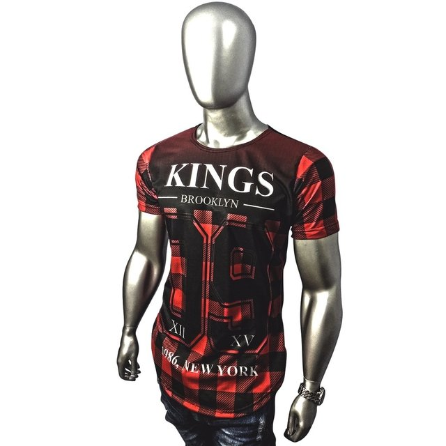 Camiseta long line oversized kings of new york xadrez listrada floral Gamer 33