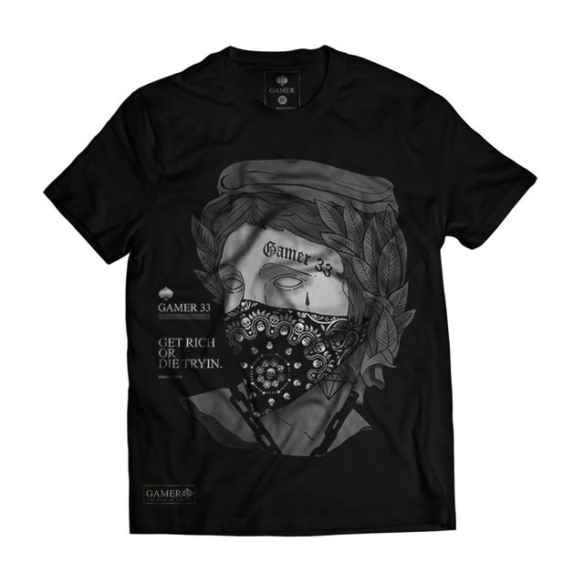 Camiseta Black Efigie Bandana Get Rich Collection Gamer 33 LOJA HDR