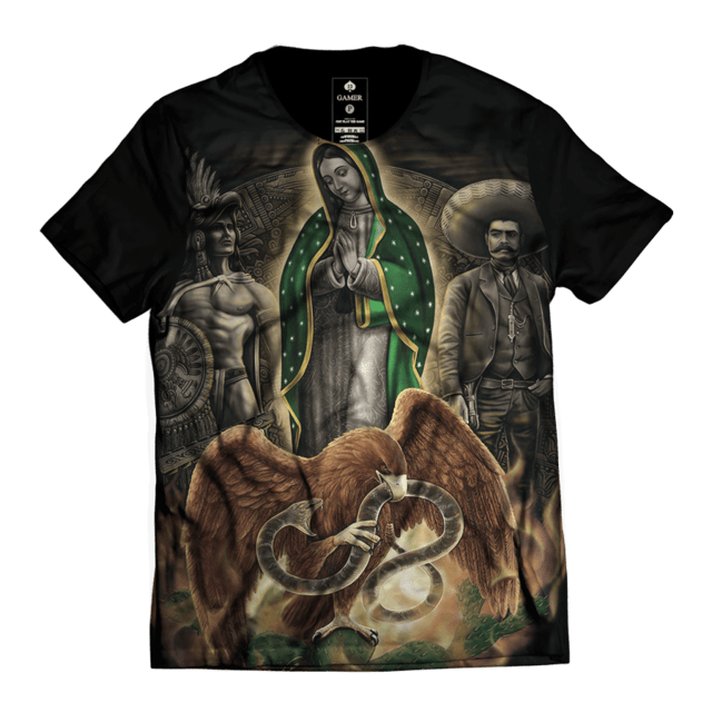 Camiseta Maria Santa Chicano Guadalupe Top Gamer 33