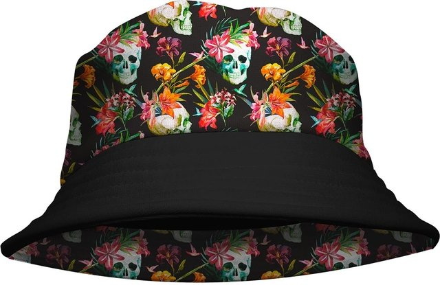 Chapeu Bucket Hat Skull Floral Outono Gamer 33 loja hdr