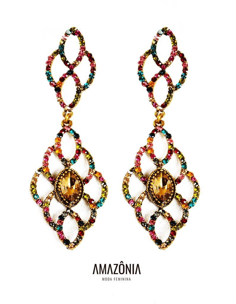 79919c581 Brinco pedraria colorido - Amazônia Moda Feminina