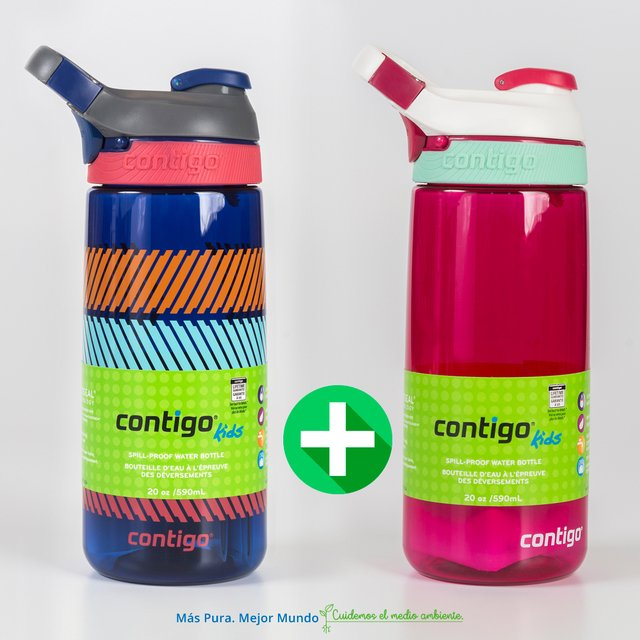 Botella Deportiva Infantil Contigo Courtney Kids 590ml Sangría + Blue Graphic