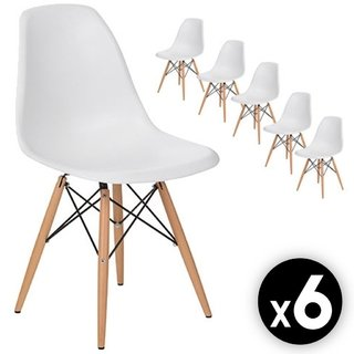 Pack x 6 Sillas Eames DSW (Blanca)