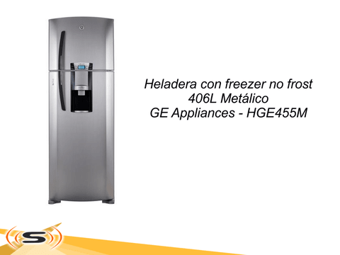 Heladera con freezer no frost 406L Metálico GE Appliances HGE455M