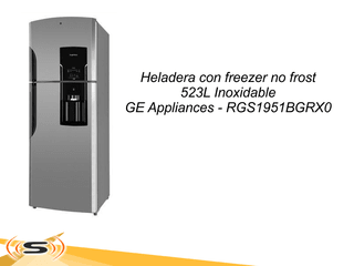Heladera con freezer no frost 523L Inoxidable GE Appliances RGS1951BGRX0