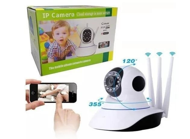 Kit C/3 Camera Ip Wireless Sem Fio Wifi Hd 3 Antenas Atacado - comprar online