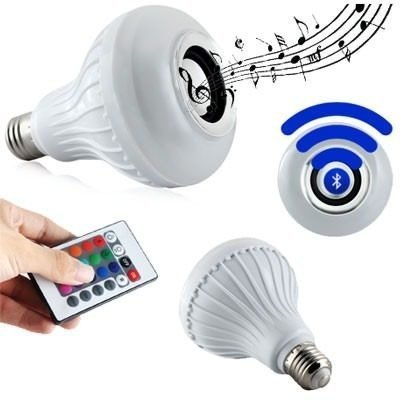 Kit C/3 Lampada Musical Led Rgb Com Som Bluetooth Com Controle