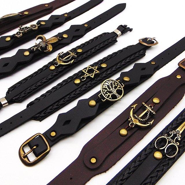 76a4ba115 ... Lote C/30 Pulseira Bracelete de Couro Masculina Atacado - comprar  online ...