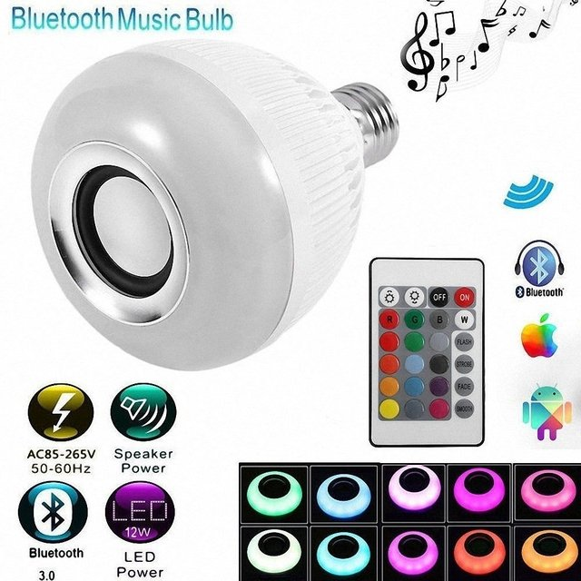 Kit C/3 Lampada Musical Led Rgb Com Som Bluetooth Com Controle na internet